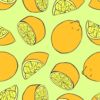 レモンとのシームレスなパターン。壁紙、パターンの塗りつぶしのベクトルシームレステクスチャ