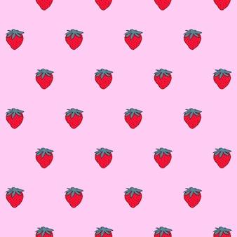 小さなイチゴとのシームレスなパターン。壁紙、パターンの塗りつぶしのベクトルシームレステクスチャ