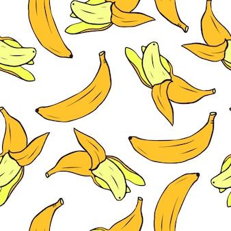 バナナとのシームレスなパターン。壁紙、パターンの塗りつぶしのベクトルシームレステクスチャ