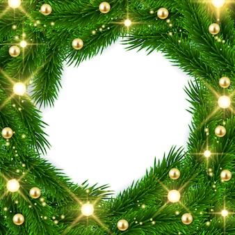 モミの木の枝フレーム、クリスマス