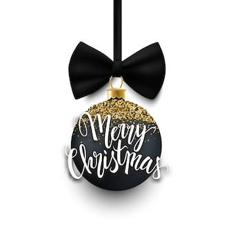 С рождеством декоративная безделушка из черного и золотого блеска