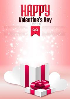 Открытая подарочная коробка с блеском, романтичный шаблон поздравительной открытки на день святого валентина