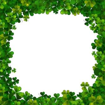 День святого патрика фон, рамка с реалистичными листьями трилистника