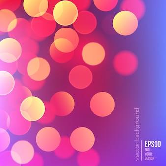 Вектор реалистичный абстрактный фон с размытым расфокусированным красочными огнями боке