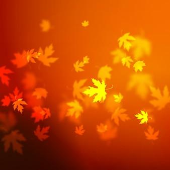 ベクトル紅葉背景デザイン、やり場のないぼやけた赤いカエデの葉イラスト