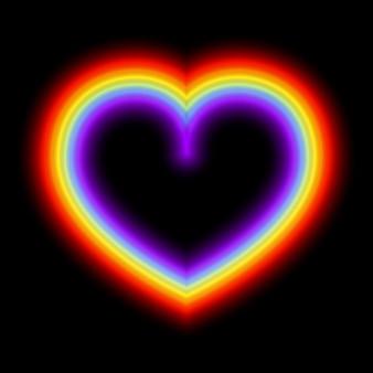 Неоновое светящееся радужное сердце