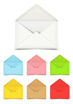 白で隔離される空白のオープンベクトル封筒