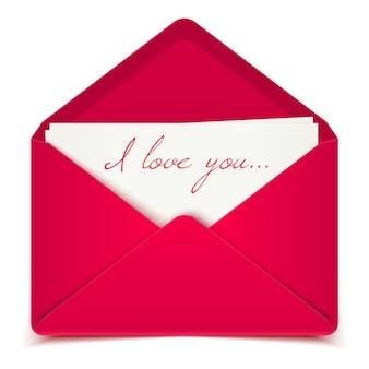 ピンクの封筒でバレンタインデーのポストカード