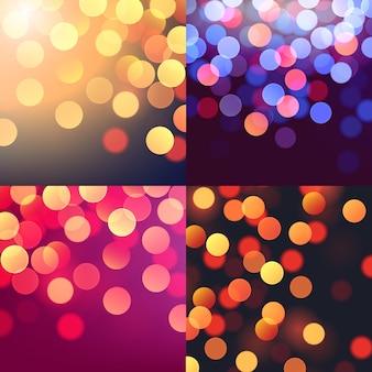 Набор реалистичных абстрактных фонов с размытым расфокусированным красочные огни боке