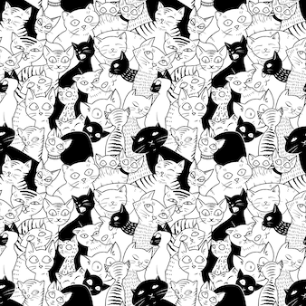 かわいい猫とのシームレスなパターン。