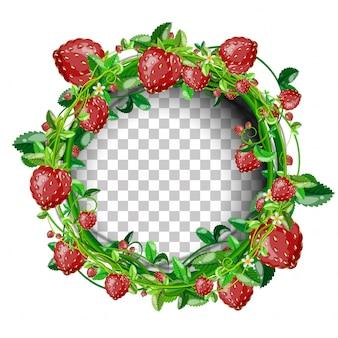 丸められたイチゴのバナーのテンプレートと余分なイチゴ。
