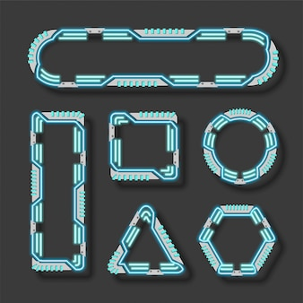 Геометрия технологии вектор баннер набор.