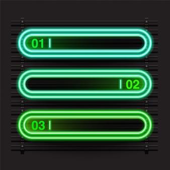 角丸長方形の緑色のネオンバナー