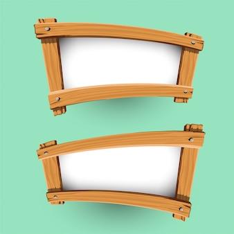 木製のバナーデザインのベクトル
