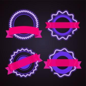 紫色のネオンとピンクのリボンバナー。