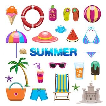 夏アイテムのベクトル。かわいいイラスト