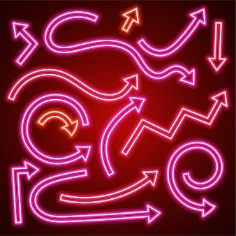 Вектор розовая стрелка неоновый набор.