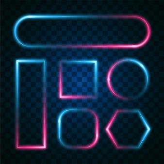 グラデーションネオン効果の青とピンクのフレームセット