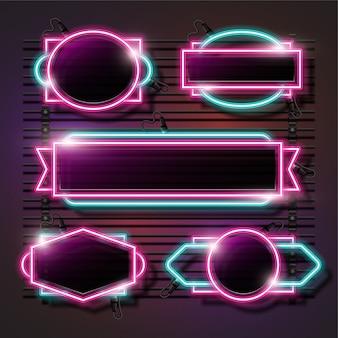 ピンクとターコイズの抽象的なネオンセット
