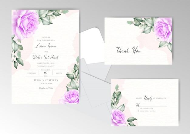 エレガントな花と葉の編集可能な結婚式の招待カード