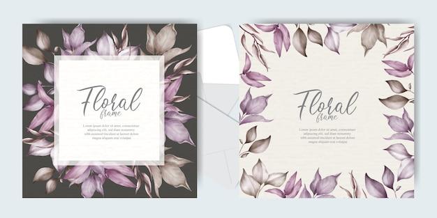 エレガントな葉を持つ結婚式の招待状セット