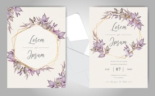 エレガントな葉を持つ幾何学的な結婚式の招待状セット