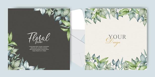緑のフレーム結婚式の招待カードテンプレート