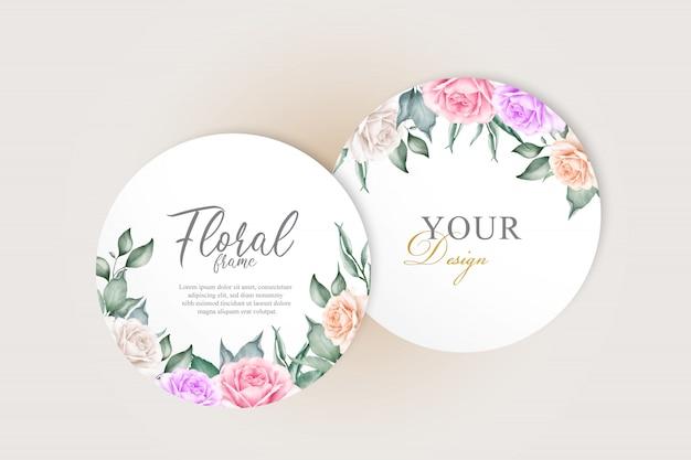 エレガントな手描きの結婚式の招待カードセットテンプレート花と水彩
