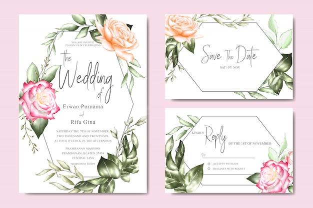 水彩花と葉の結婚式の招待カードテンプレート