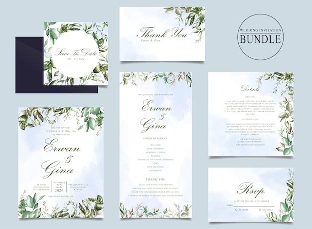 結婚式の招待カードの束と緑の葉のテンプレート