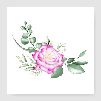 水彩花柄ブーケデザインウェディングカードテンプレート