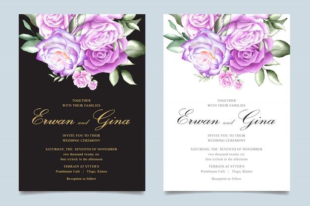 Свадебные приглашения шаблон с акварелью цветочные и листья