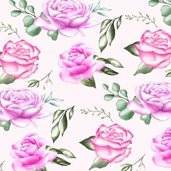水彩花と葉とのシームレスなパターン
