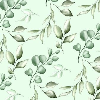 Бесшовный фон с акварелью цветочным и листьями