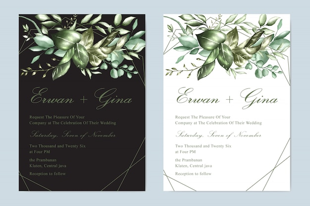 花の結婚式の招待状テンプレートカードデザイン