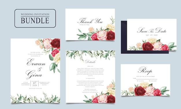 花と葉のテンプレートと結婚式の招待カードバンドル