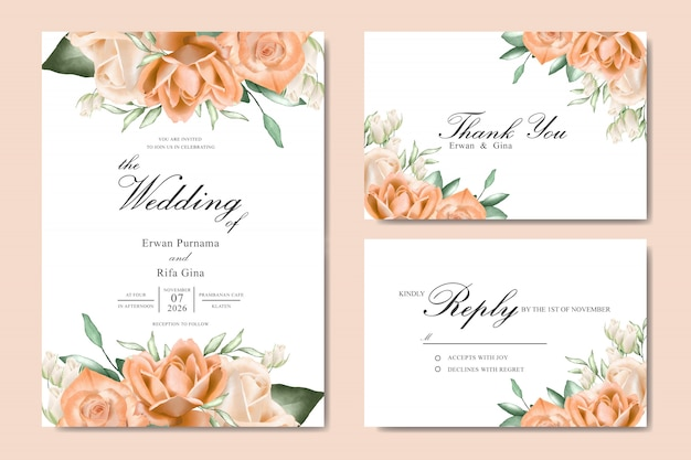 水彩花結婚式招待状テンプレートカードのデザイン