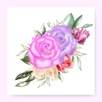 水彩花の花束デザインウェディングカードテンプレート