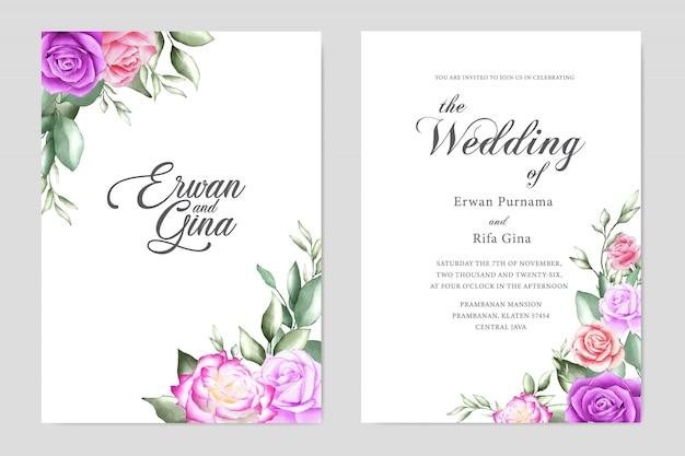 花の結婚式の招待状のテンプレートカードのデザイン