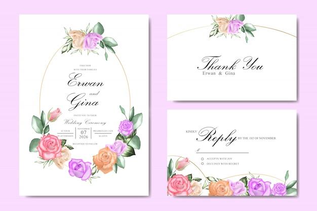 Акварель цветочные свадебные приглашения шаблон дизайн карты