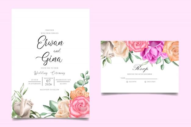 水彩花の結婚式招待状テンプレートカード