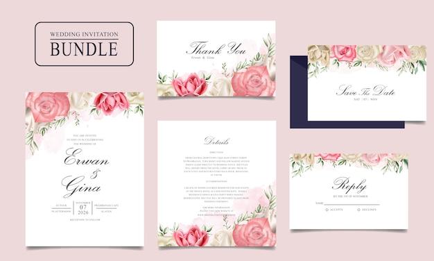 水彩花と葉のテンプレートと結婚式の招待カードバンドル