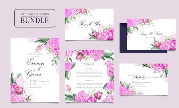 水彩花と葉を持つ結婚式の招待カードバンドル