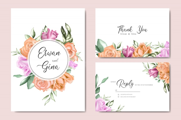 水彩花と葉の結婚式招待状テンプレートカードのデザイン