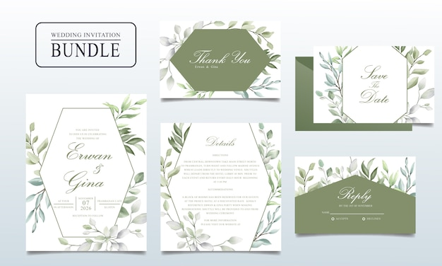Красивая свадебная пригласительная открытка с акварельными листьями