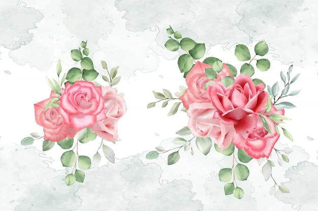 結婚式のカードの水彩画のフラワーアレンジメント