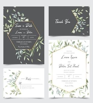 Элегантный свадебный пригласительный с зелеными листьями
