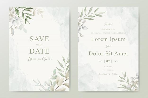 葉を持つ結婚式の招待カード
