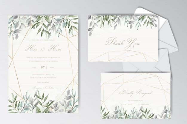 葉を持つ美しい水彩結婚式静止テンプレートコレクション
