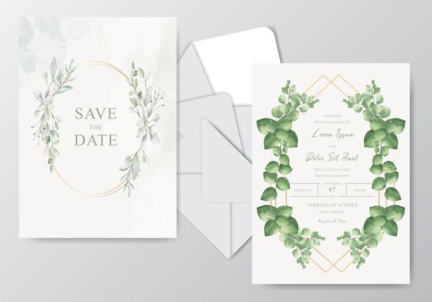 Красивая акварель свадебный шаблон с листвой